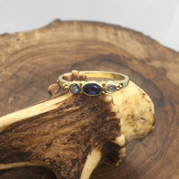 Chandra Handmade Gold Ring with Precious Stones