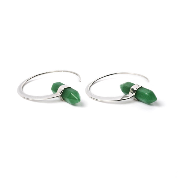 Dakinis Sterling Silver Earrings with Jade