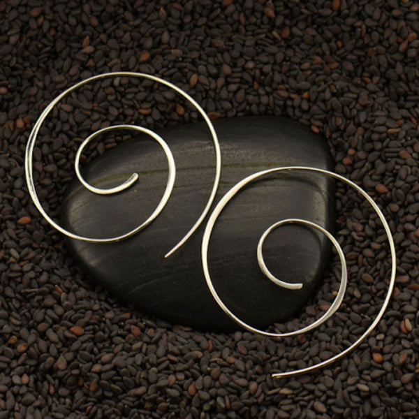 Large Silver Spiral Swirl Hook Earrings
