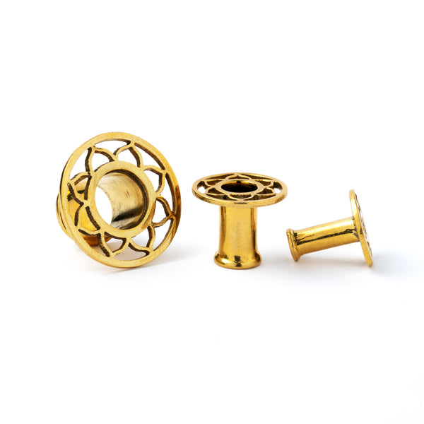 Flower petal brass ear plug