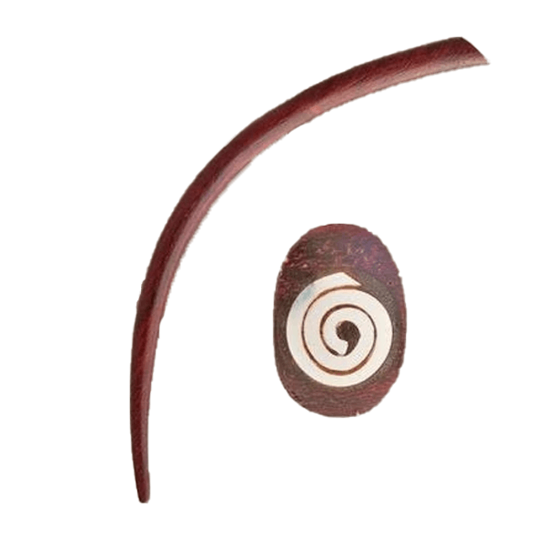 Long Rose Wood Ear Expander with Silver Spiral