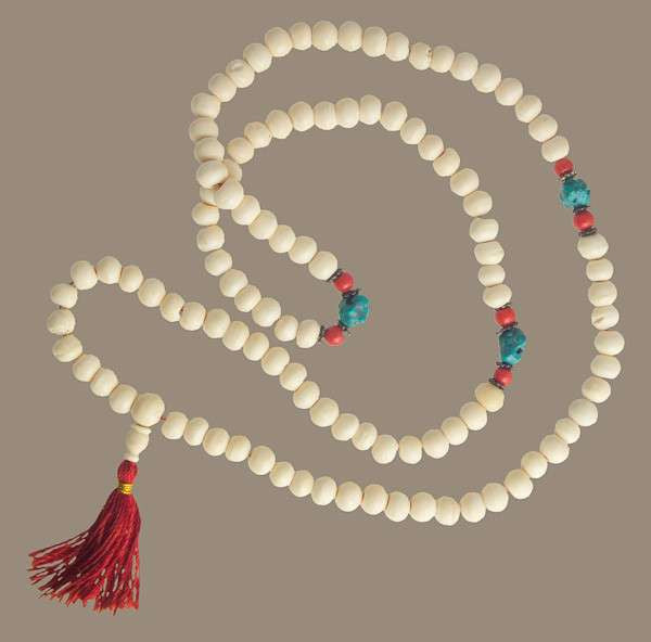 Bone Mala With Turquoise - Tribu  - 1