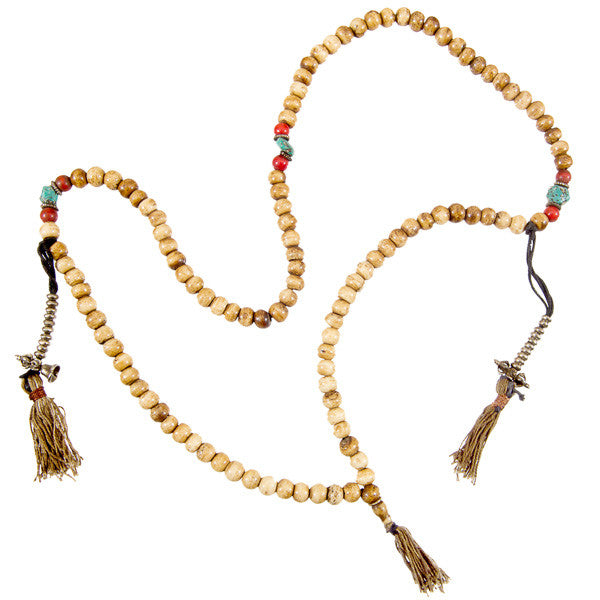 Bone Beads Mala With Turquoise - Tribu