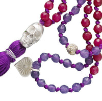 Skull and Precious Stone Mala Necklace
