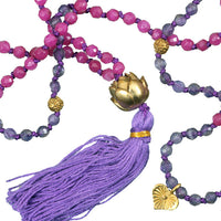 Amethyst and Rose Quartz Mala with Brass Lotus Centre Bead - Tribu  - 2