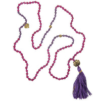 Amethyst and Rose Quartz Mala with Brass Lotus Centre Bead - Tribu  - 1