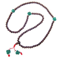 Dark Rosewood And Turquoise Mala - Tribu