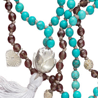 Precious Stone Mala Decorated with Silver Beads