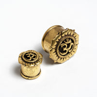 Om Lotus Brass Ear Plug/ Ear Gauges / Ear Stretchers / Plug Earrings / Plugs / Tunnels / Plug Tunnels / Ear Tunnels / Screw Plugs / Brass Plug Tunnels / Brass Gauges / Brass Plugs / Brass Tunnels / Gauge Jewellery