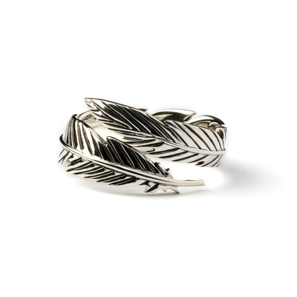 Open Feather Silver Ring