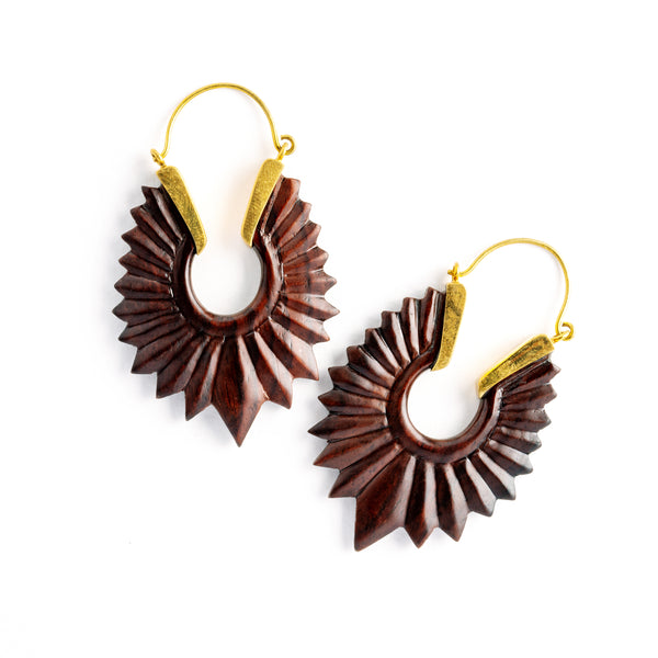 Oval Carved Ebony Wood and Bronze Earrings