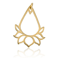 Gold Plated Drop Shaped Lotus Charm Pendant - Tribu