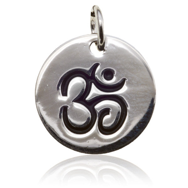 Silver Round Charm Pendant with Carved Ohm Symbol - Tribu