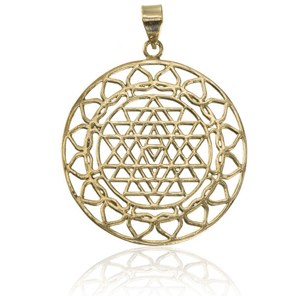 Brass Decorated Sri Yantra Mandala Pendant - Tribu