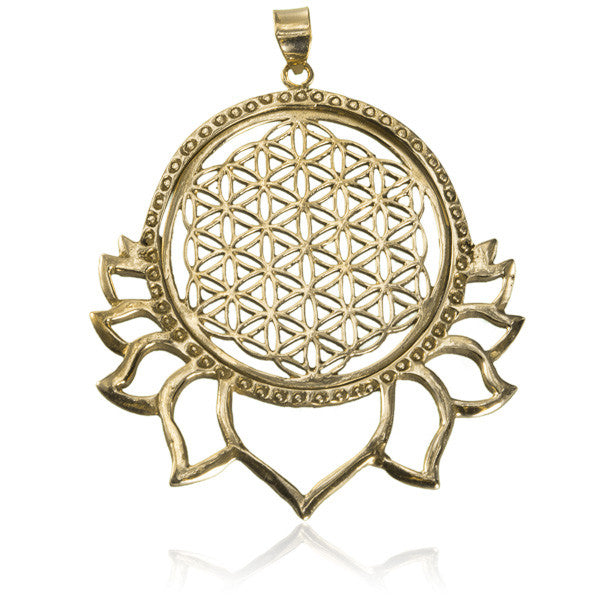 Flower of Life Brass Pendant with Lotus Petals - Tribu