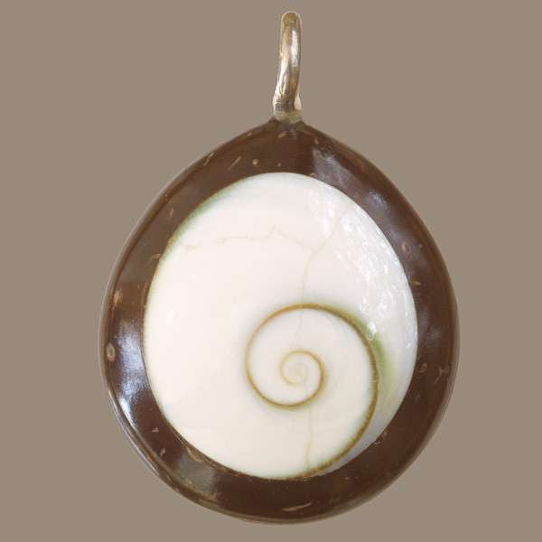Coconut with set Shiva Eye Shell Rounded Drop Shaped Pendant - Tribu