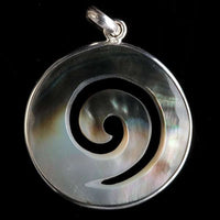 Spiral Carved in Oyster Shell Pendant - Tribu