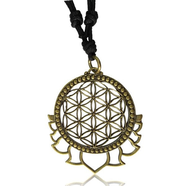 Flower of Life with Lotus Petals Brass Pendant - Tribu