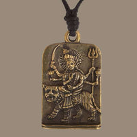 Durga on a Tiger Rustic Brass Pendant - Tribu  - 1