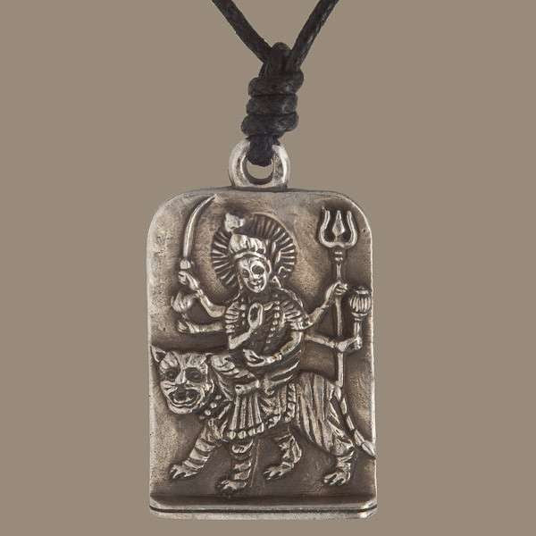 Silver Coated Brass Shiva On The Tiger Pendant - Tribu