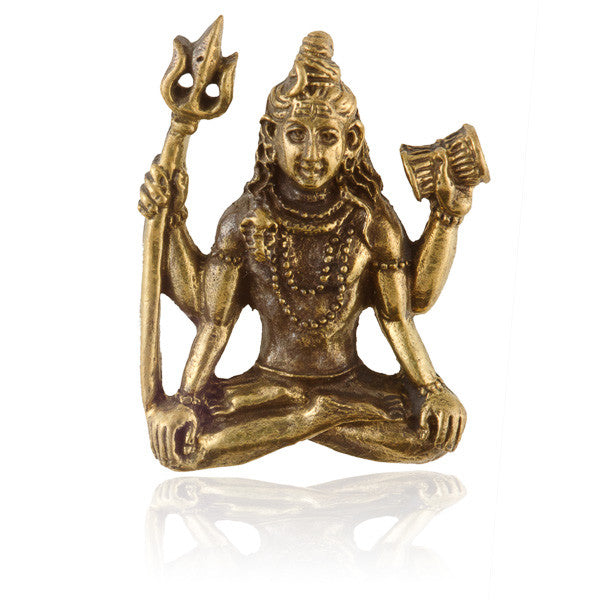 Sitting Lord Shiva Brass Pendant - Tribu  - 1