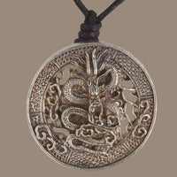 Brass Silver Coated Dragon Pendant - Tribu