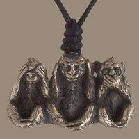 The Three Monkyes Silver Coated Brass Pendant - Tribu  - 1