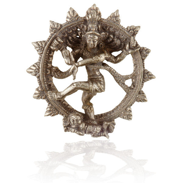 Silver Coated Brass Dancing Shiva Pendant - Tribu