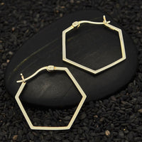 Hexagon silver hoop earring