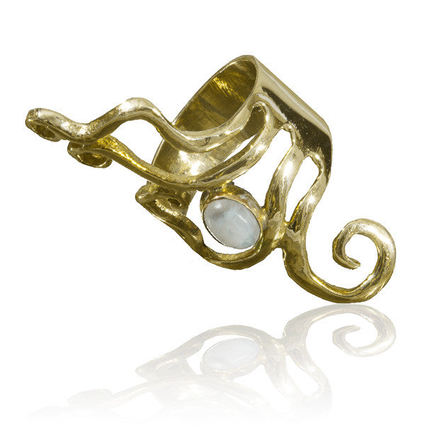 Brass Ring With Spiralling Lines And A Stone Set - Tribu  - 3