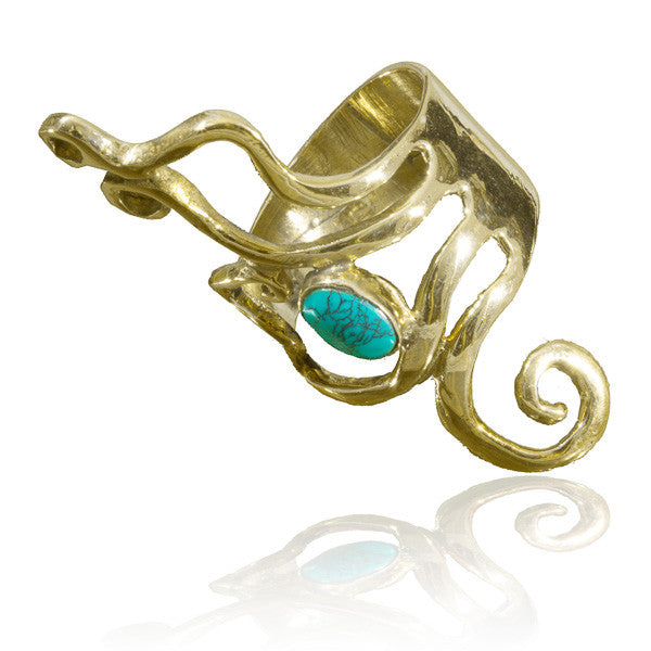 Brass Ring With Spiralling Lines And A Stone Set - Tribu  - 1