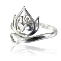Adjustable Ornamented Ohm Silver Ring - Tribu