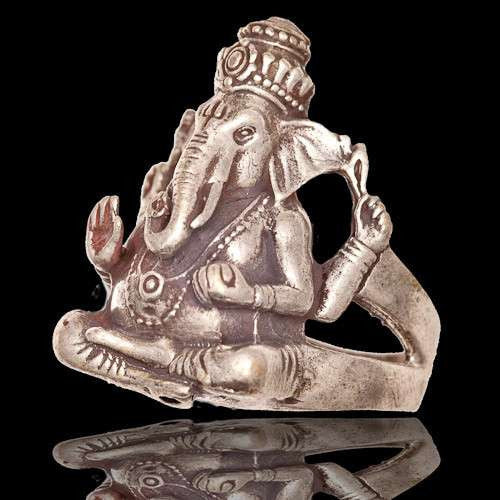 Ganesh Silver Coated Brass Ring - Tribu