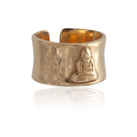 Meditating Buddha Gold Plated Silver Ring