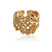 18k Gold Plated Silver Ring Inspired By The Lotus Flower