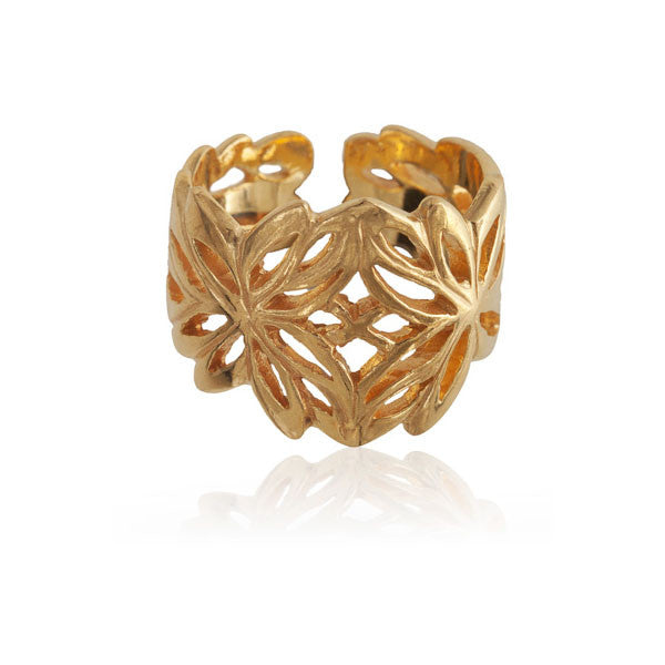 Gold Plated Silver Ring Inspired By The Lotus Flower