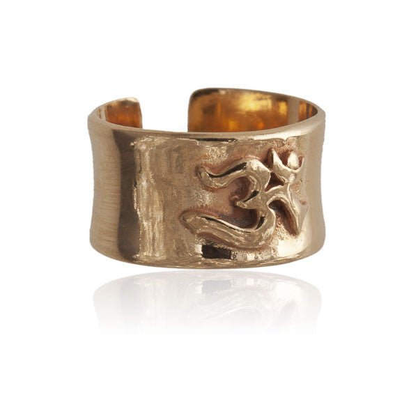 Om 18 Karat Gold Plated Silver Ring