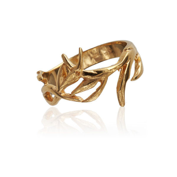 Gold Plated Branches Silver Ring