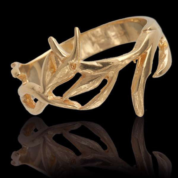 Gold Plated Branches Silver Ring - Tribu