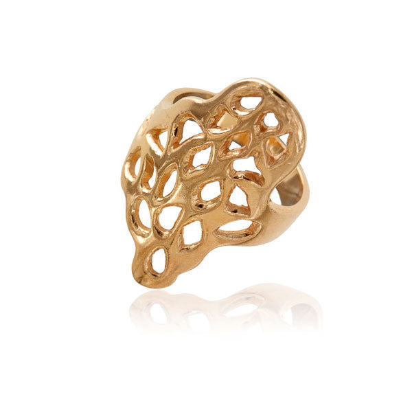 Gold Plated Silver Ring With Carved Holes
