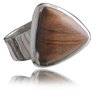 Triangular Silver Ring with set Olive Wood
