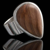 Olive Wood Set In Silver Tear Shaped Ring - Tribu