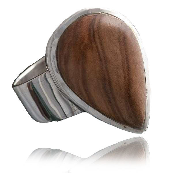 Olive Wood Set In Silver Tear Shaped Ring