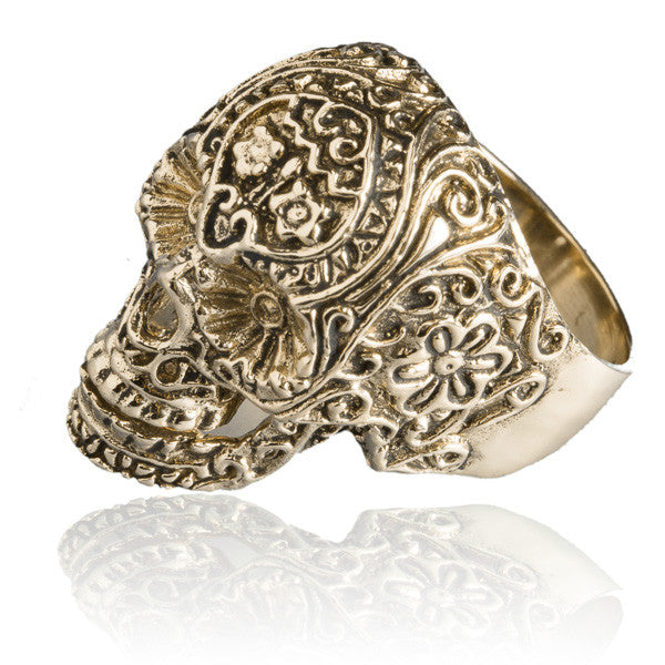 Brass Sugar Skull Ring - Tribu  - 2