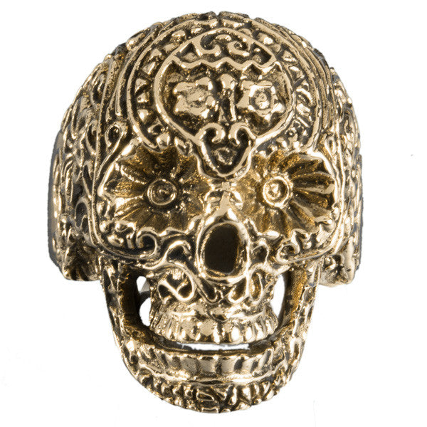 Brass Sugar Skull Ring - Tribu  - 1