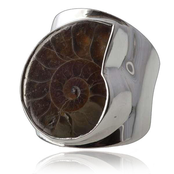 Silver Ring With Ammonite