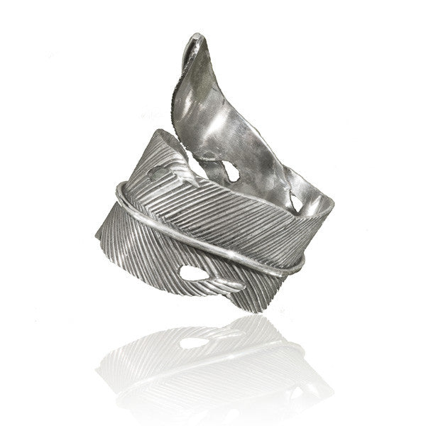 Feather Silver Ring - Tribu  - 1