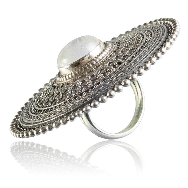 Large Intricate Silver Ring With Stone Set - Tribu  - 2
