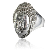 Silver Ring With Detailed Large Buddha Face Carving - Tribu