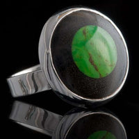 Silver Ring With Green Semi Precious Stone - Tribu